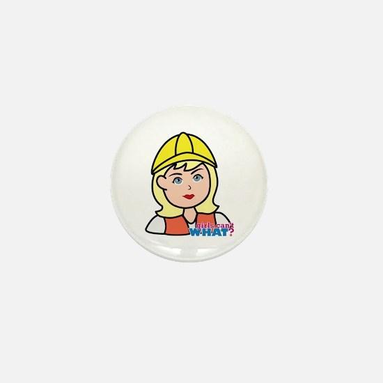 Construction Worker Head - Light/Blond Mini Button