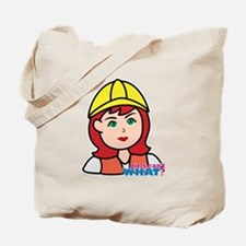 Construction Worker Head - Light/Red Tote Bag