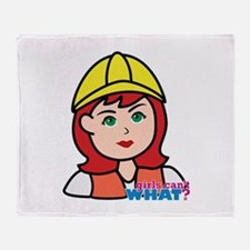Construction Worker Head - Light/Red Throw Blanket