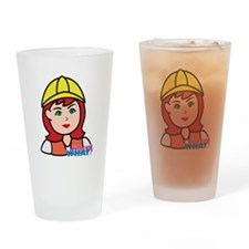 Construction Worker Head - Light/Re Drinking Glass