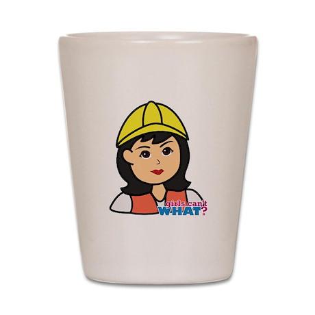 Construction Worker Head - Medium Shot Glass