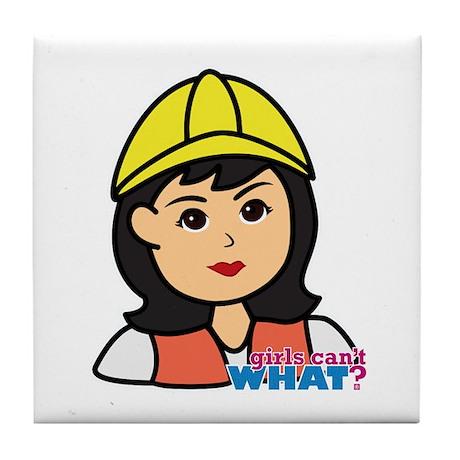 Construction Worker Head - Medium Tile Coaster