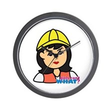 Construction Worker Head - Medium Wall Clock