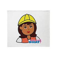Construction Worker Head - Dark Throw Blanket