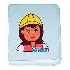 Construction Worker Head - Dark baby blanket