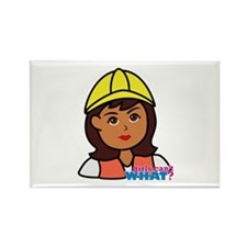 Construction Worker Head - Dark Rectangle Magnet