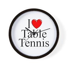 """I Love (Heart) Table Tennis"" Wall Clock"