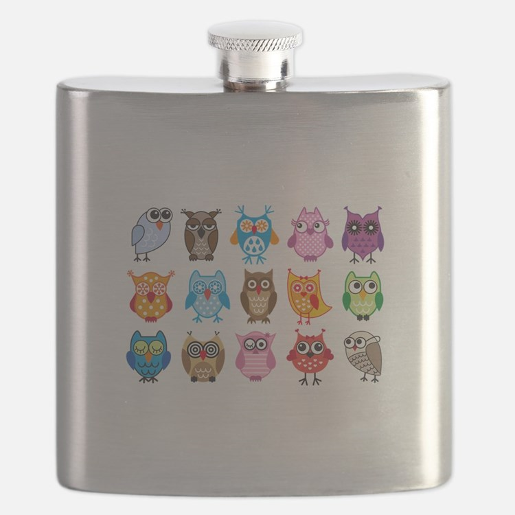 colorful cute owls Flask