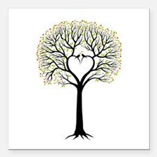 Love tree with heart branches, birds and hearts Sq