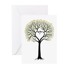 Love tree with heart branches, birds and hearts Gr