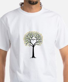 Love tree with heart branches, birds and hearts T-