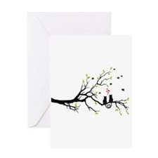 Cats in love on tree Greeting Cards