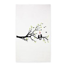 Cats in love on tree 3'x5' Area Rug