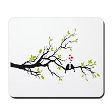Love birds on tree branch Mousepad