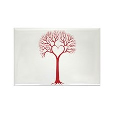 Red heart tree Magnets