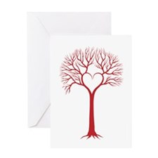 Red heart tree Greeting Cards