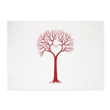 Red heart tree 5'x7'Area Rug