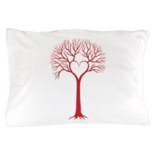 Red heart tree Pillow Case