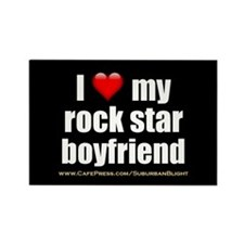 """Love My Rock Star Boyfriend"" Rectangle Magnet"