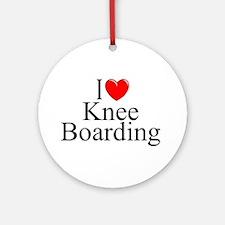 """I Love (Heart) Knee Boarding"" Ornament (Round)"