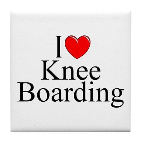 """I Love (Heart) Knee Boarding"" Tile Coaster"