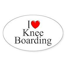 """I Love (Heart) Knee Boarding"" Oval Decal"