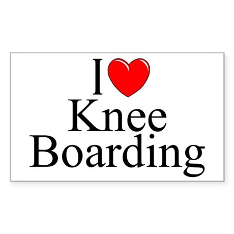 """I Love (Heart) Knee Boarding"" Rectangle Sticker"