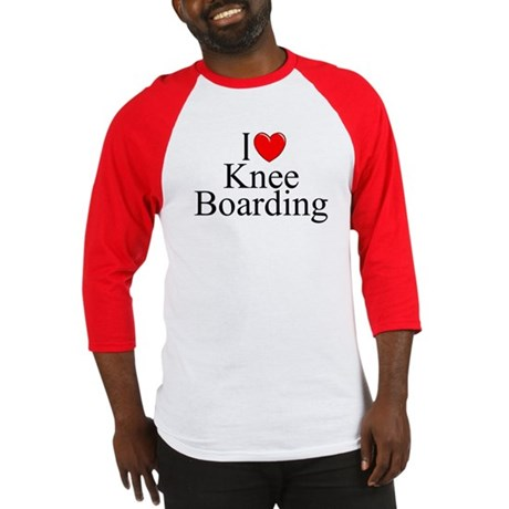 """I Love (Heart) Knee Boarding"" Baseball Jersey"