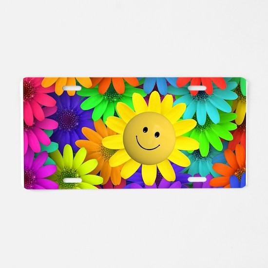 Colorful Art of Flower Aluminum License Plate