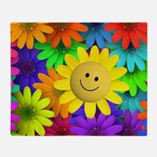 Colorful Art of Flower Throw Blanket
