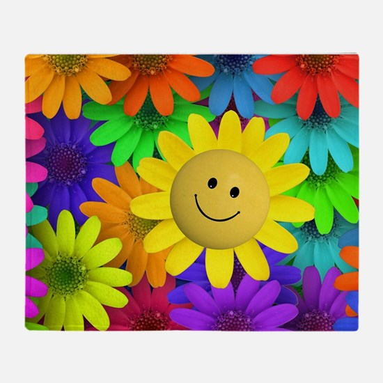 Colorful Art of Flower Throw Blanket