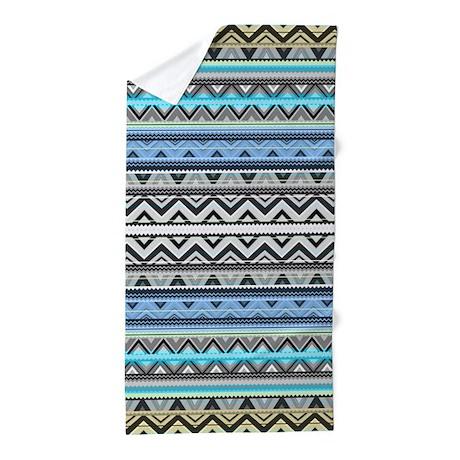 Mix #76 Double Size, Blue Aztec Beach Towel