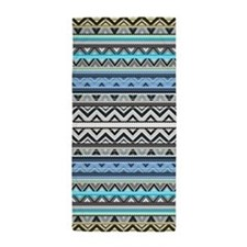 Mix #76 Double Size, Blue Aztec Beach Towel