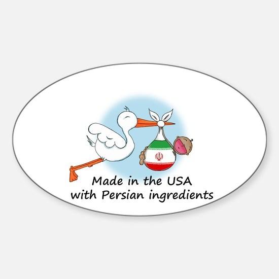 Stork Baby Iran USA Sticker (Oval)