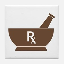 Brown Mortar and Pestle Rx Tile Coaster
