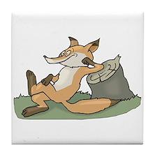Silly Lazy Fox Tile Coaster