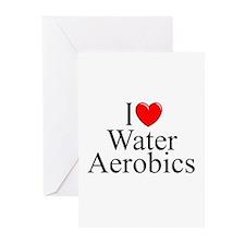 """I Love (Heart) Water Aerobics"" Greeting Cards (Pk"