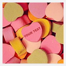 Candy Hearts Custom Text 5.25 X 5.25 Flat Cards