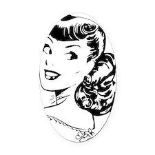 Vintage Girl Oval Car Magnet