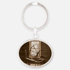 spinning wheel Oval Keychain