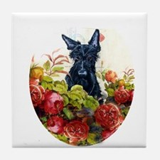 Scottish Terrier Roses Tile Coaster