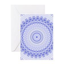 China Blue mandala kaleidoscope Greeting Cards