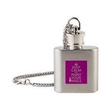 Keep Calm and Paint Your Nails Flask Necklace