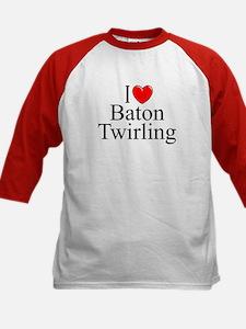 """I Love (Heart) Baton Twirling"" Kids Baseball Jers"