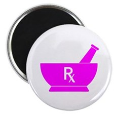 """Pink Mortar and Pestle Rx 2.25"""" Magnet (10 pack)"""