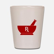 Red Mortar and Pestle Rx Shot Glass