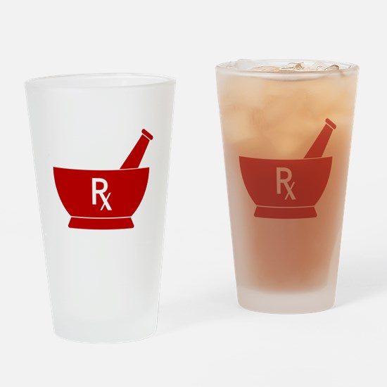 Red Mortar and Pestle Rx Drinking Glass