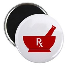 """Red Mortar and Pestle Rx 2.25"""" Magnet (10 pack)"""