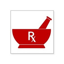 "Red Mortar and Pestle Rx Square Sticker 3"" x 3"""