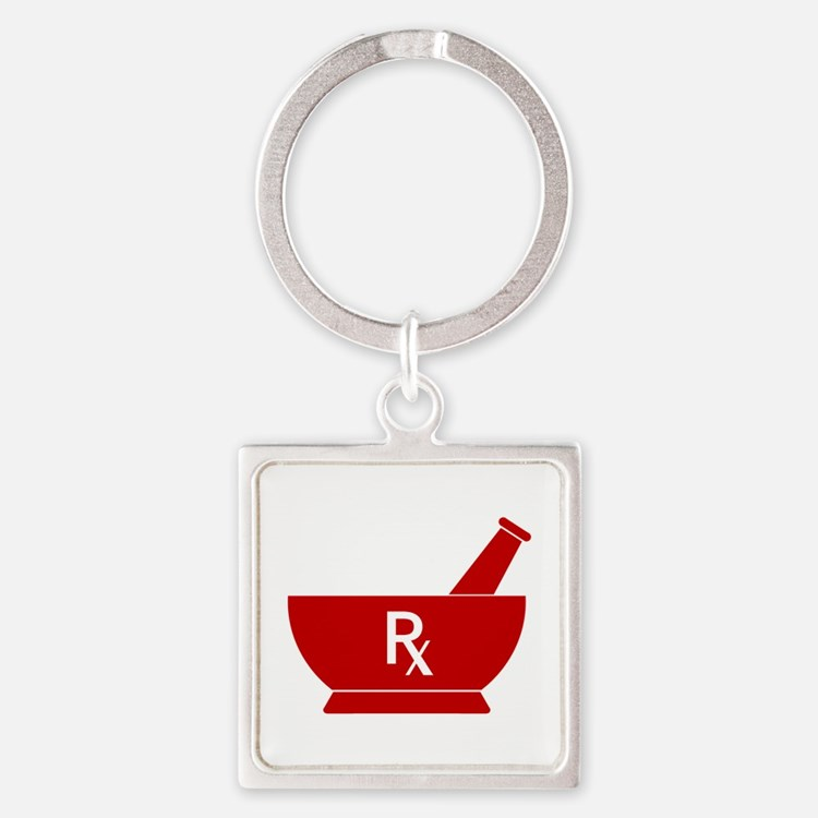 Red Mortar and Pestle Rx Square Keychain